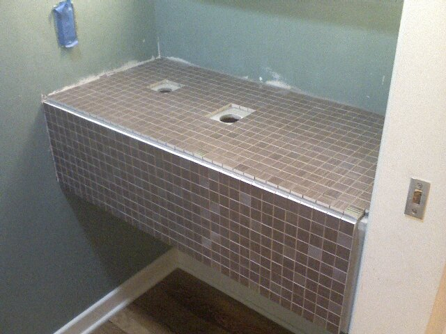 Vanities For Half Bath half bath vanity tile. - old school renovations, inc.