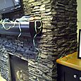 Stacked Stone family room fireplace detail