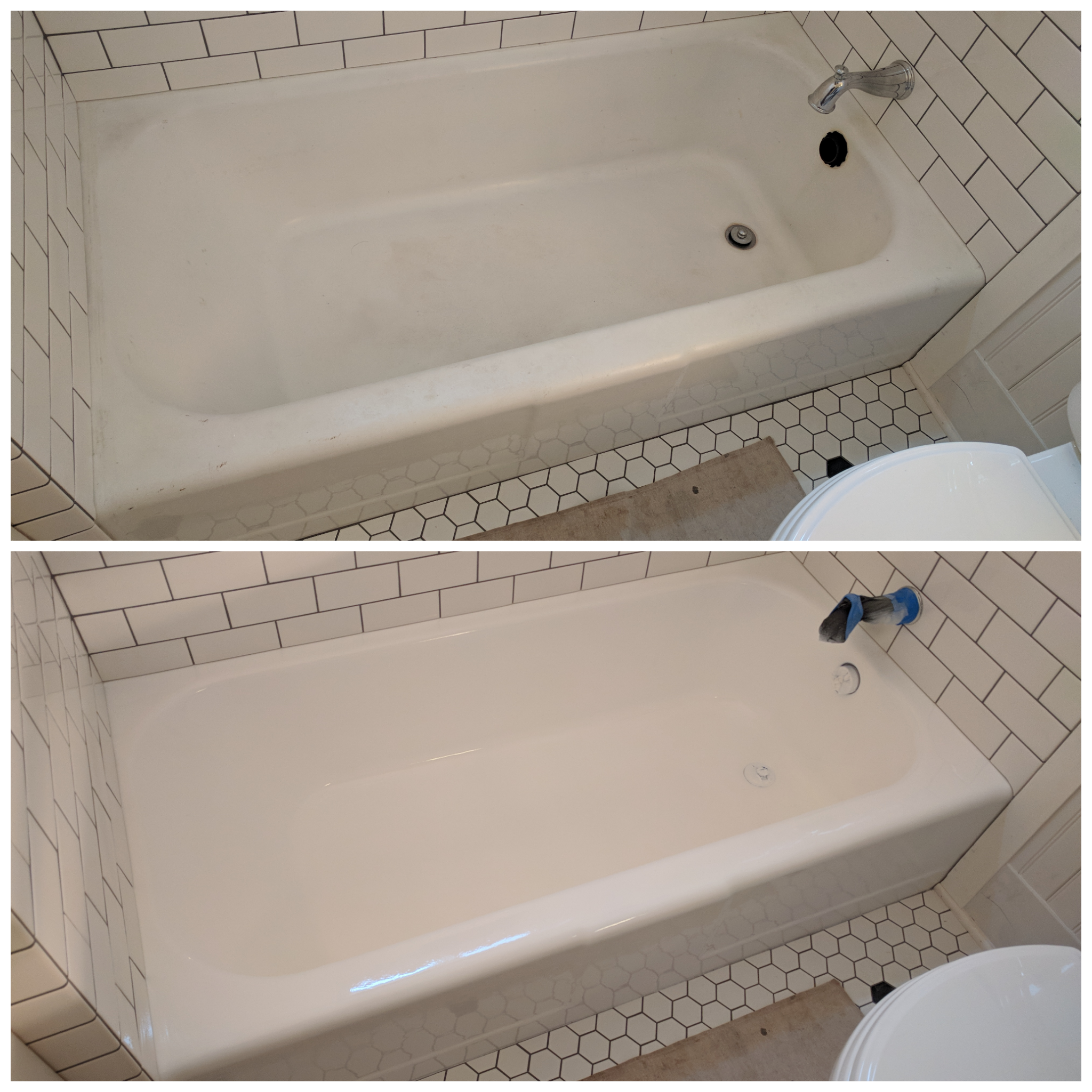 Tub Refinish. Before and After. - Old School Renovations, Inc.