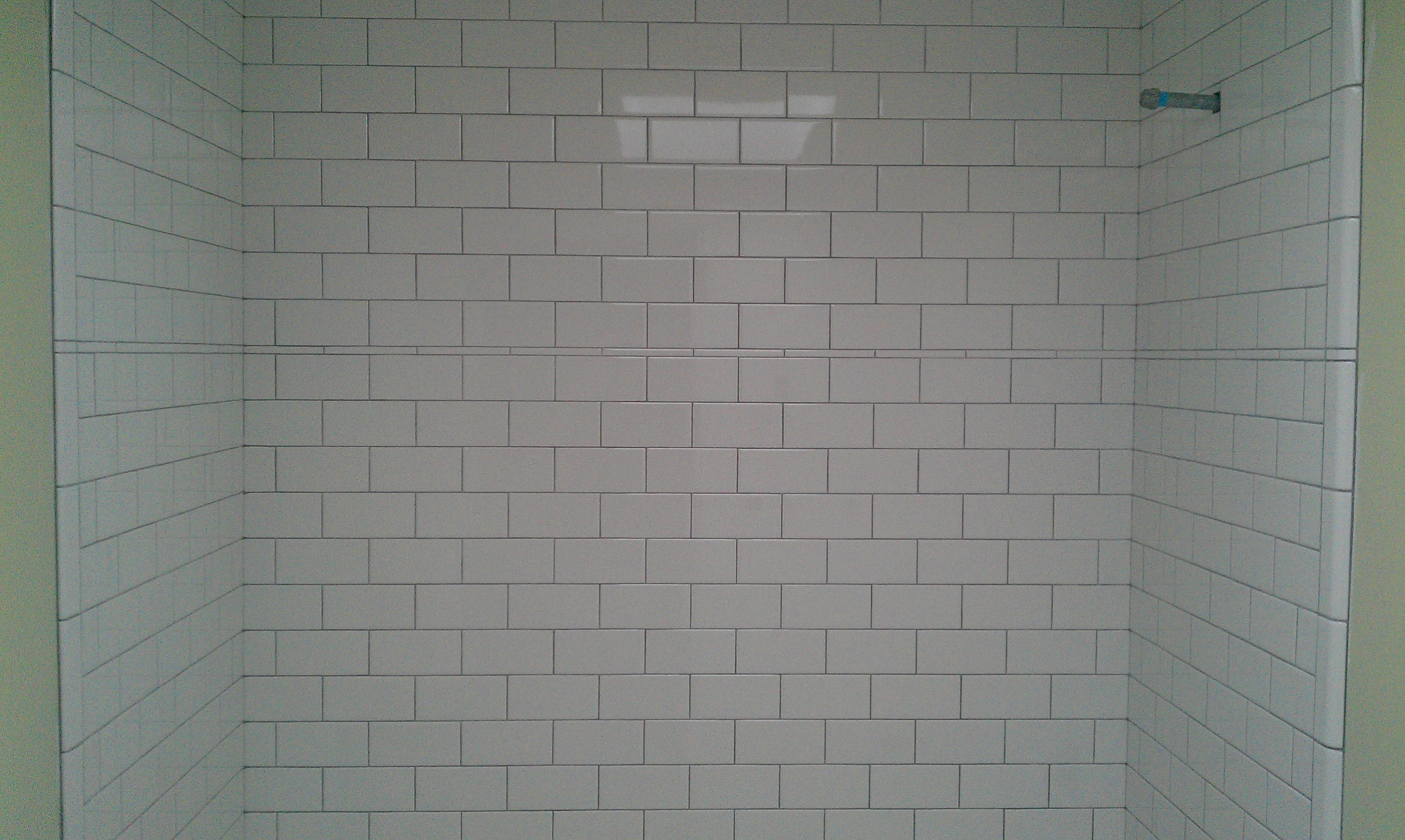 White Subway Tile Grey Grout Bathroom White Subway Field With A