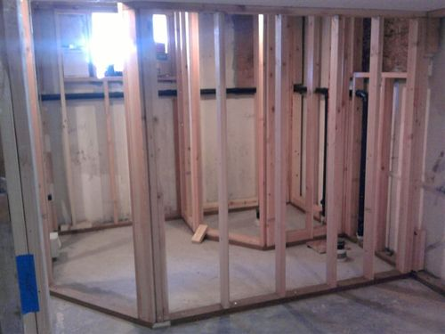 KB Basement Bathroom: Bathroom framing complete.
